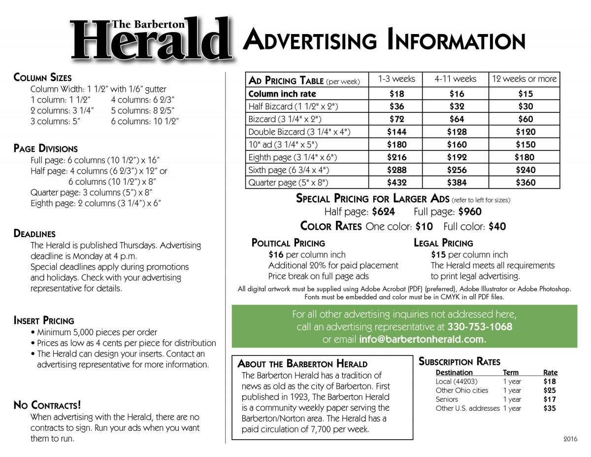 Herald Rate Card 2016