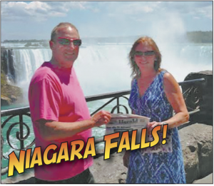 Cindy and Skip Snyder celebrate their anniversary at Niagara Falls.