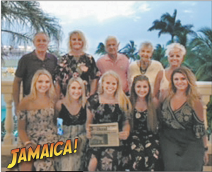 Samantha Perrin, Michaela Querry, Madison Haywood, Tatianna Daly, Tallia Daly,celebrate their high school graduation in Jamaica with Mike, Chrissy, Patricia andCharles Perrin, and Keti Daly.